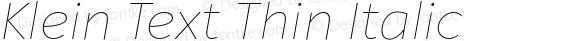 Klein Text Thin Italic