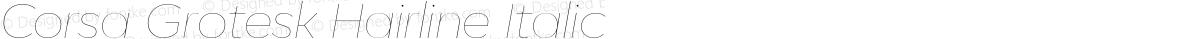 Corsa Grotesk Hairline Italic