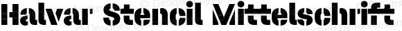 Halvar Stencil Mittelschrift Black MaxGap