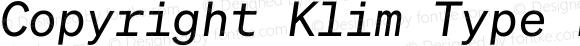 Copyright Klim Type Foundry