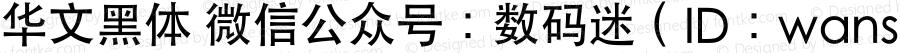 华文黑体 微信公众号:数码迷(ID:wanshuma) Regular
