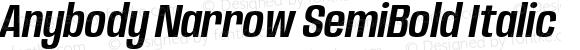 Anybody Narrow SemiBold Italic