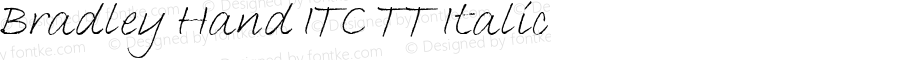 Bradley Hand ITC TT Italic Version 1.00