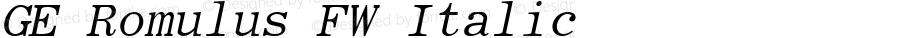 GE Romulus FW Italic Version 1.0