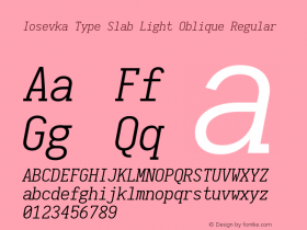 Iosevka Type Slab Light Oblique