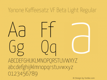 Yanone Kaffeesatz VF Beta Light