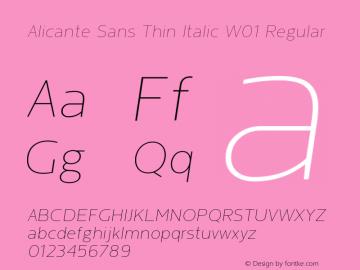 Alicante Sans Thin Italic W01