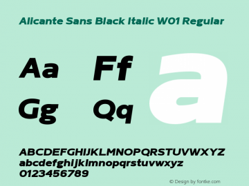 Alicante Sans Black Italic W01