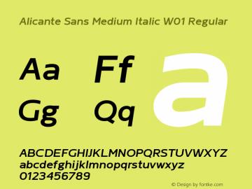 Alicante Sans Medium Italic W01