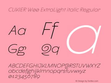 CUKIER W00 ExtraLight italic