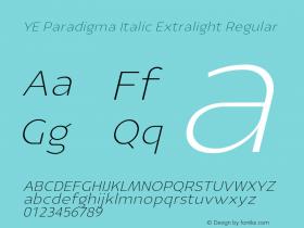 YE Paradigma Italic Extralight