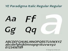 YE Paradigma Italic Regular