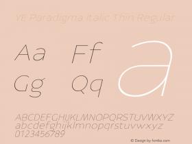 YE Paradigma Italic Thin