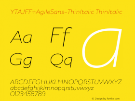YTAJFF+AgileSans-ThinItalic