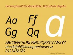 HarmonySansVFCondensedItalic-1222 tabular