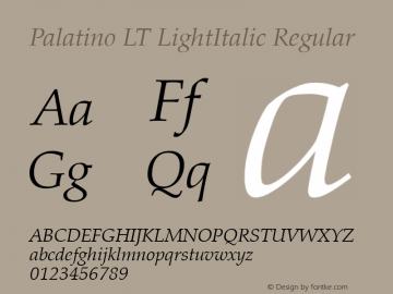 Palatino LT LightItalic