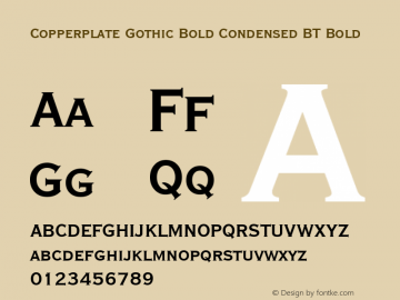 Copperplate Gothic Bold Condensed BT