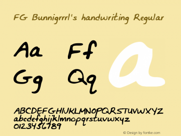 FG Bunnigrrrl's handwriting