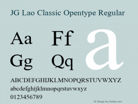 JG Lao Classic Opentype