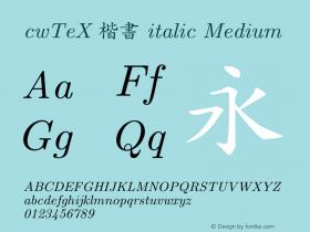 cwTeX 楷書 italic