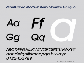 AvantGarde Medium Italic
