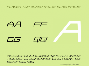 Player 1 Up Black Italic