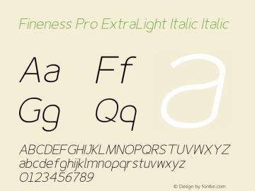 Fineness Pro ExtraLight Italic