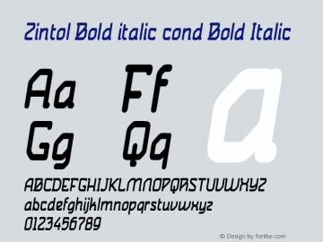 Zintol Bold italic cond