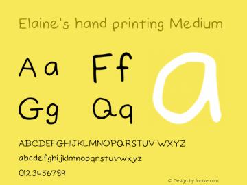 Elaine's hand printing