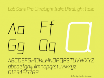 Lab Sans Pro UltraLight Italic