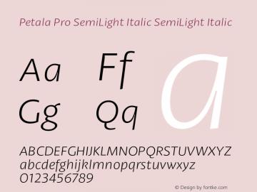 Petala Pro SemiLight Italic
