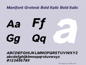 Manifont Grotesk Bold Italic