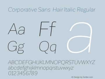 Corporative Sans Hair Italic