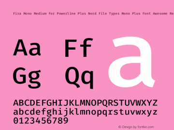 Fira Mono Medium for Powerline Plus Nerd File Types Mono Plus Font Awesome