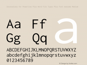 Inconsolata for Powerline Plus Nerd File Types Plus Font Awesome