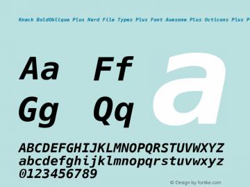 Knack BoldOblique Plus Nerd File Types Plus Font Awesome Plus Octicons Plus Pomicons