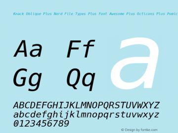 Knack Oblique Plus Nerd File Types Plus Font Awesome Plus Octicons Plus Pomicons