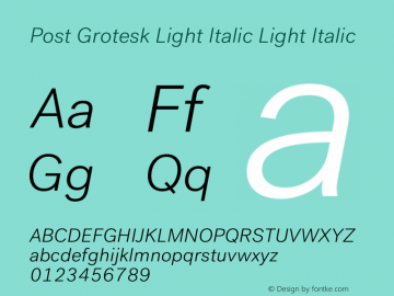 Post Grotesk Light Italic
