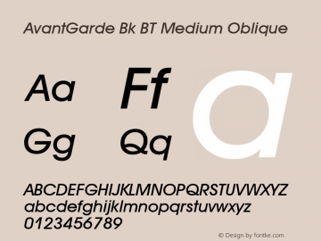 AvantGarde Bk BT Medium Oblique mfgpctt-v1.53 Friday, January 29, 1993 11:44:02 am (EST) Font Sample