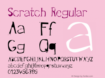 Scratch Regular Version 001.000 Font Sample