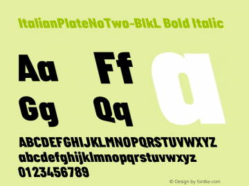 ItalianPlateNoTwo-BlkL Bold Italic Version 1.000图片样张