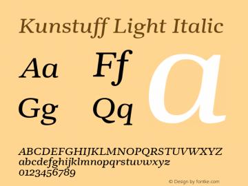 Kunstuff Light Italic Version 1.002 Font Sample