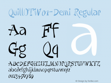QuillOTW01-Demi Regular Version 7.504 Font Sample