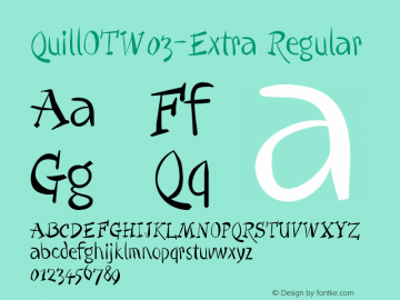 QuillOTW03-Extra Regular Version 7.504 Font Sample