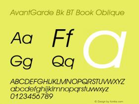 AvantGarde Bk BT Book Oblique mfgpctt-v4.4 Dec 14 1998 Font Sample