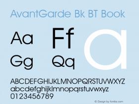 AvantGarde Bk BT Book mfgpctt-v4.4 Dec 14 1998 Font Sample