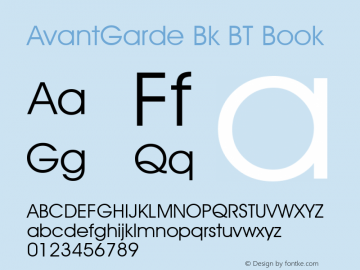 AvantGarde Bk BT Book mfgpctt-v4.4 Dec 14 1998 Font Sample