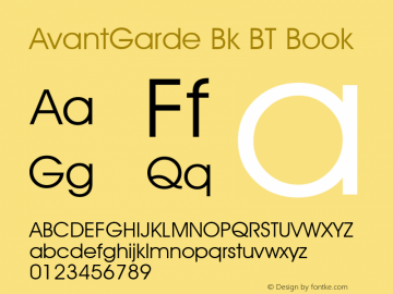 AvantGarde Bk BT Book mfgpctt-v4.4 Dec 14 1998 Re-gen'd FontLab 4.5 2003 Font Sample