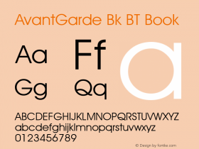 AvantGarde Bk BT Book mfgpctt-v1.52 Tuesday, January 12, 1993 3:55:26 pm (EST) Font Sample