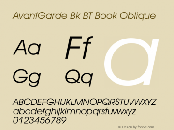 AvantGarde Bk BT Book Oblique mfgpctt-v1.52 Tuesday, January 12, 1993 3:58:23 pm (EST) Font Sample